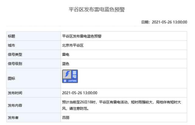 雷电+大风!北京多区发布雷电蓝色预警和大风蓝色预警插图