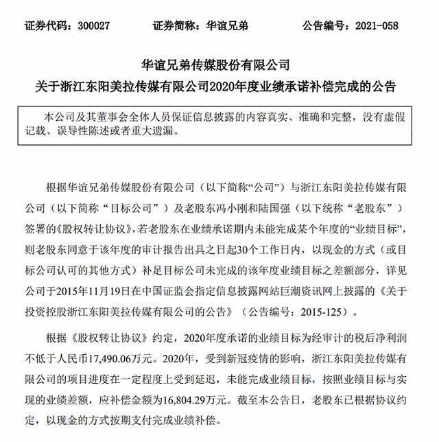 冯小刚已向华谊兄弟支付1.68亿元现金补偿插图